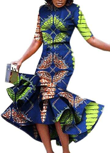Jaycargogo Manches Courtes Classique Des Femmes De Haut Gris Moulante À Faible Robe Maxi Cocktail Ourlet Volants D'impression Africains
