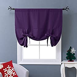 "NICETOWN Thermal Insulated Blackout Curtain - Tie Up Shade Drape for Narrow Window (Royal Purple, Rod Pocket Panel, 46"" W x 63"" L)"