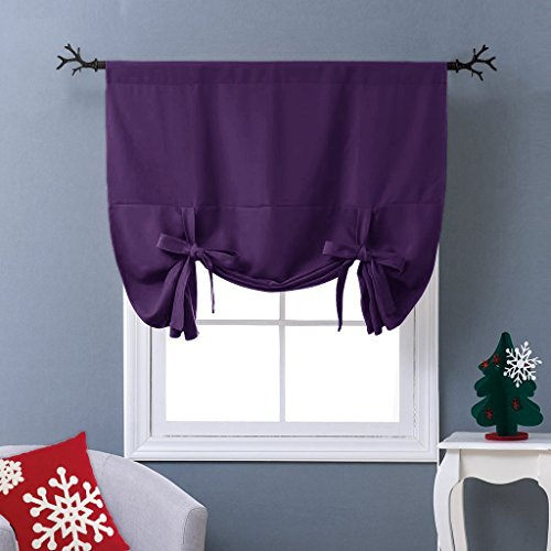 NICETOWN Thermal Insulated Blackout Curtain - Tie Up Shade Drape for Narrow Window (Royal Purple, Rod Pocket Panel, 46 inches W x 63 inches L) (Purple Roman Shades)