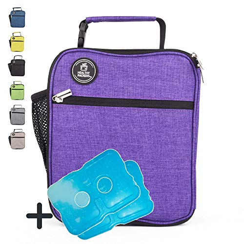 Healthy Packers Insulated Lunch Box for Adults and Kids w/ 2 Slim Long Lasting Ice Packs - Professional Work Lunch Bag for Men and Women - Heavy Duty School Lunchbox for Boys and Girls (Purple) (Best Lunch Bags For Professionals)