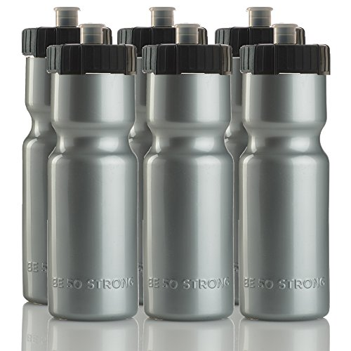 - 50 Strong Sports Squeeze Water Bottle Team Pack - Set of 6 Bottles - 22 oz. BPA Free Durable Plastic Bottle with Easy Open Push/Pull Cap - Made in USA Silver Black