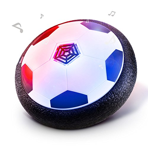 Jhua Kids Hover Ball Toys Air Power Soccer Disk Ball Hover Football Soccer Toys for Kids with Foam Bumpers LED Lights for Children Indoor Outdoor Play