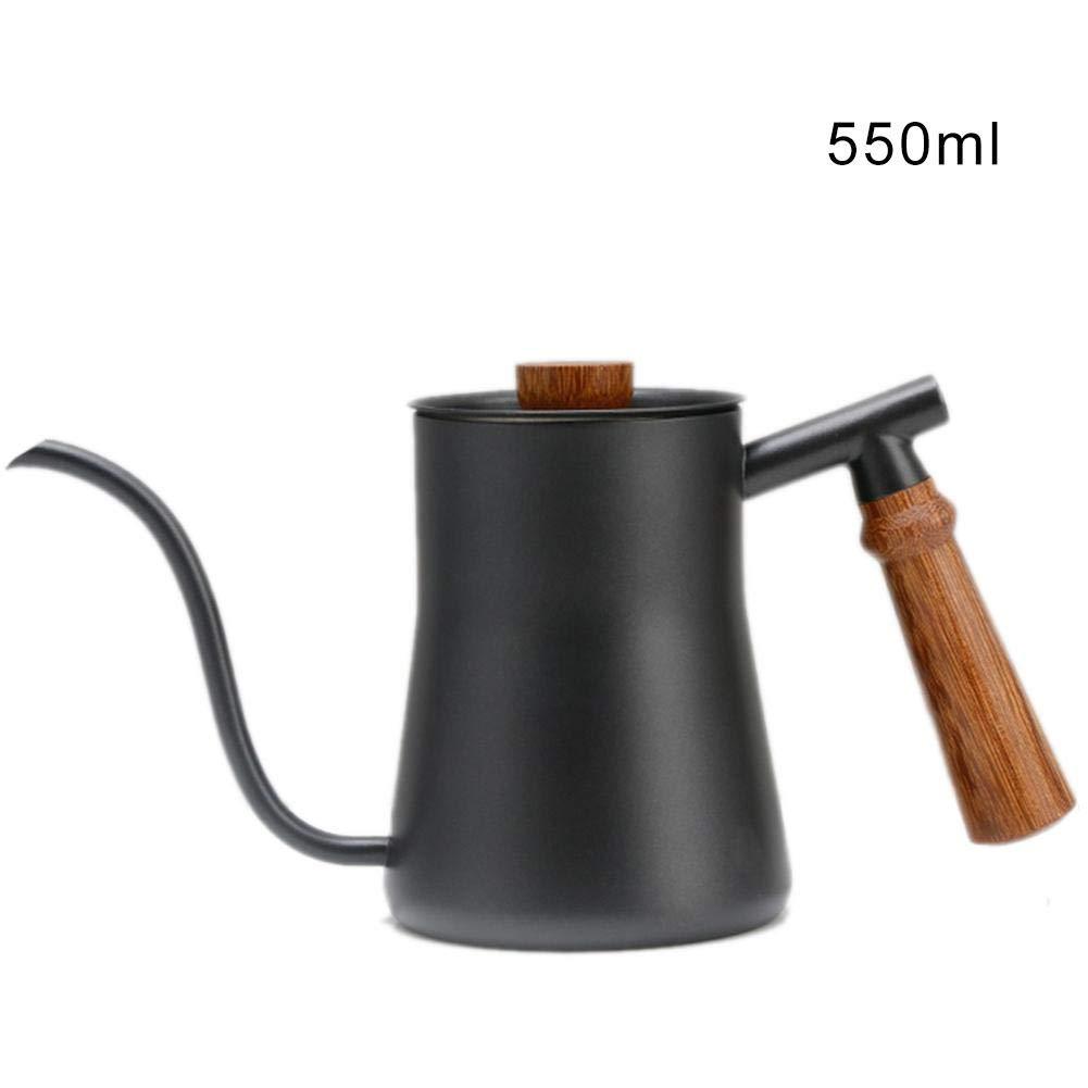 Caffettiera a bocca lunga, in acciaio inox, con manico in legno, in acciaio inox 550 ml Holzgriff 2 Eruditter