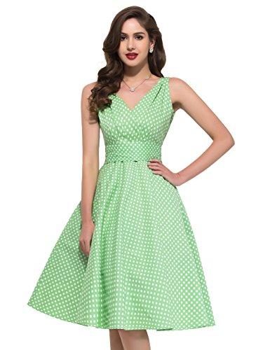 PAUL JONES Women's V-Neck Polka Dot Vintage Party Dress Green(S) (Light Green Vintage)