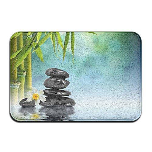Non Slip Coral Velvet Bathmat Absorbent Bath Rug 18x30s Memory Foam Bath Mats With Anti-Skid Bottom - Asian Zen Garden Stone Bamboo Orchid Zen