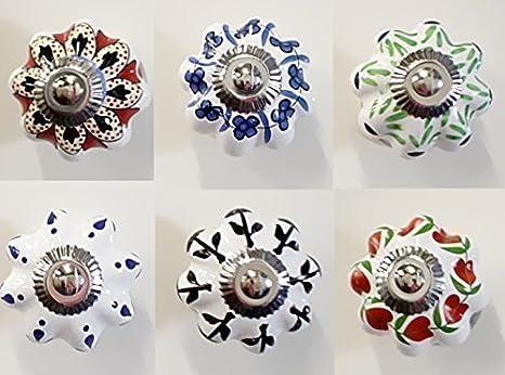Set di Pomelli per Mobili, in Ceramica, Set 3 da 6 Pezzi, Vintage ...