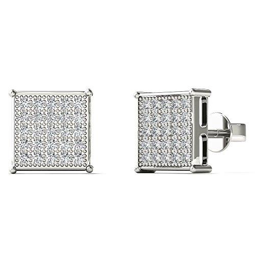 JewelAngel Women's 10K White Gold 1/8 Carat TDW Diamond Classic Square Stud Earrings (H-I, (Tdw Diamond Square Earrings)