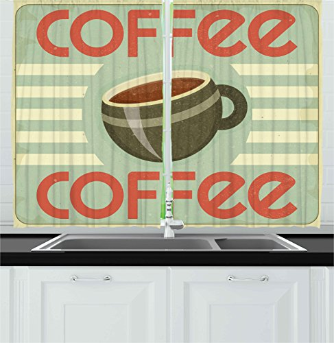 Ambesonne Coffee Decor Collection, Retro Cover for Coffee Menu Illustration Restaurant Kitchen Vintage Design Artwork, Window Treatments for Kitchen Curtains 2 Panels, 55X39 Inches, Red Brown Beige