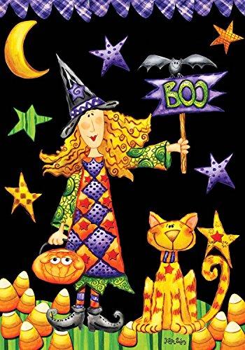 Briarwood Lane Boo Witch Halloween Garden Flag Primitive Holiday 12.5