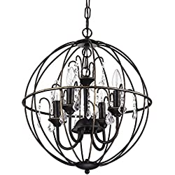 Dover 4-Light Antique Bronze Globe Cage Crystal Chandelier Ceiling Fixture