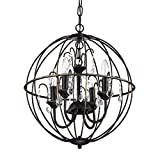 Antique Bronze Cage Style Globe Sphere Crystal Chandelier Light Ceiling Fixture Review