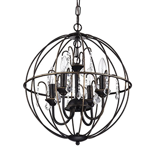 Dover 4-Light Antique Bronze Globe Cage Crystal Chandelier Ceiling Fixture