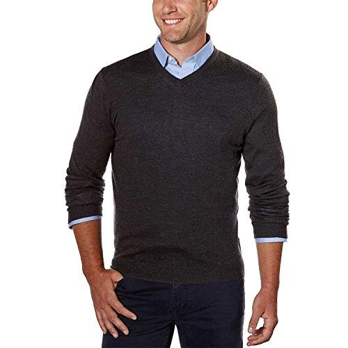 Calvin Klein Men's Merino Solid V-Neck Sweater (Ansa Grey, Large)
