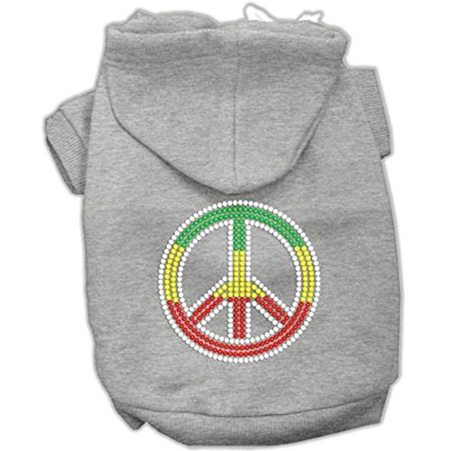 Rasta Peace Sign Dog Hoodie Grey XS (8)