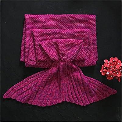 La petite sirène de plumes de queue de poisson de la climatisation canapé couverture couverture couverture pan knitting knitting de cadeaux d'anniversaire créatif , Bébé 90*50, wine red