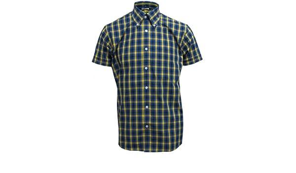 Relco para hombre amarillo/cuadros azules de manga corta para Mod botón de patrones de costura para camisas Skinhead de plumón de: Amazon.es: Ropa y accesorios