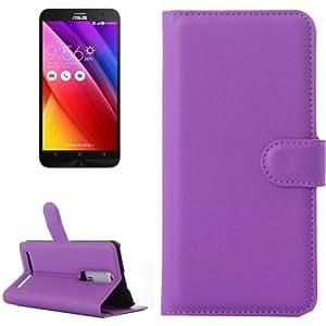"5,5"" ch lichis Texture Funda piel con Holder Case Cover & Card Wallet Slots & para Asus ZenFone 2 (Purple)"