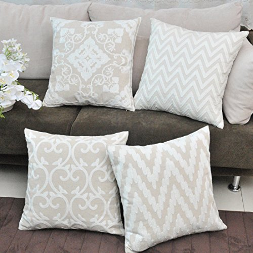 baibu Cotton Decor Accent Throw Pillow Case Embroidery Beige