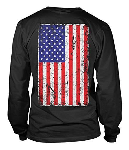 Distressed USA Flag - United States of America Unisex Long Sleeve Shirt (Black - Back Print, Medium) ()