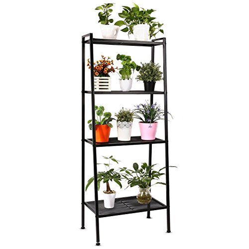 HOMFA Metal 4 Shelf Bookcase, Multifunctional Ladder-Shaped Plant Flower Stand Rack Bookrack Storage Shelves, Black Storage Plant Stand