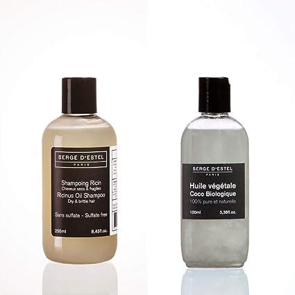 Aceite de ricino Champú sin sulfato 250ml Aceite de coco orgánico 100ml. Cuidado completo para el cabello rizado muy seco rizado dañado.: Amazon.es: Belleza