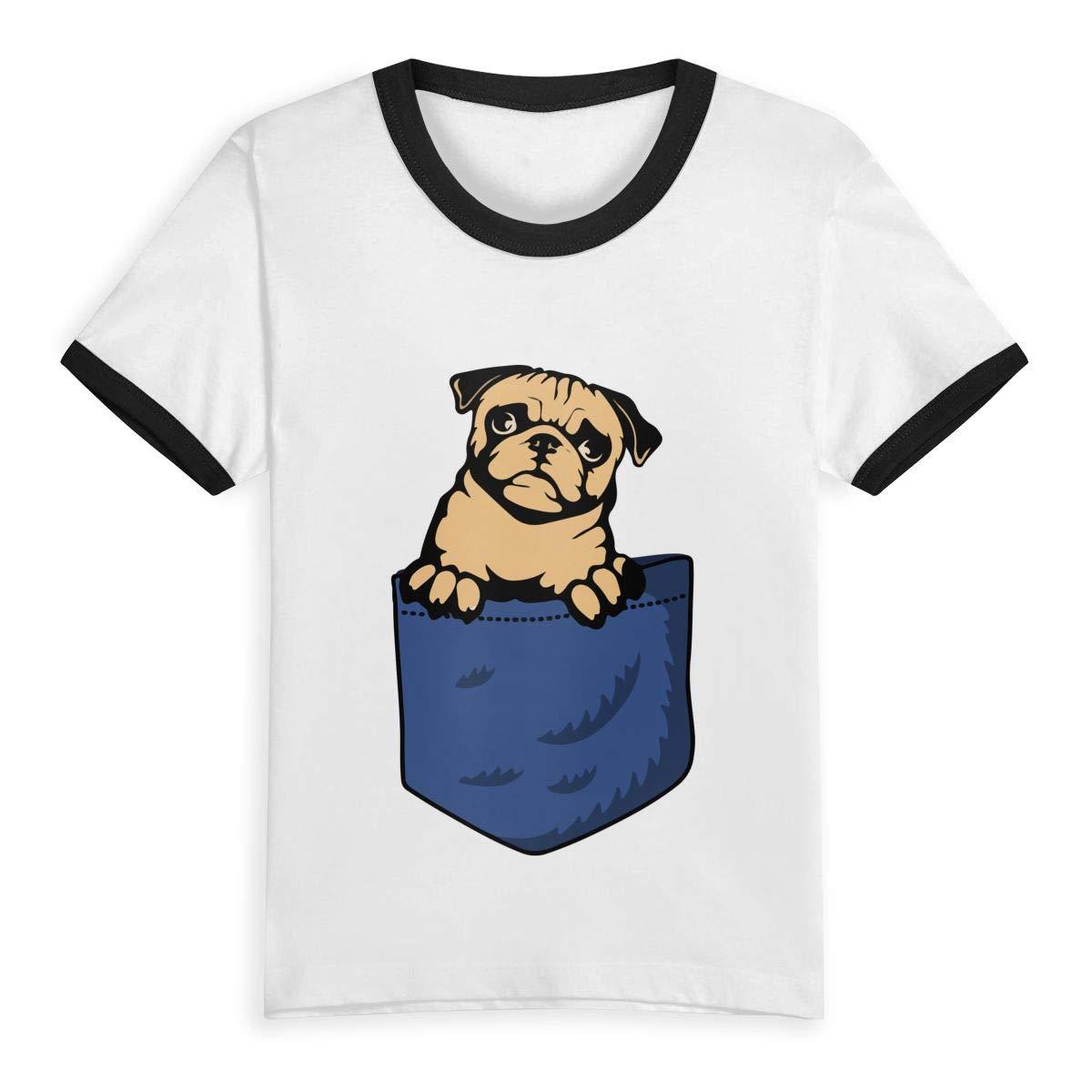 UGFGF-S1 Pocket Pug Fashion Toddler Children Short Sleeve T-Shirt Boys Girls Clothing