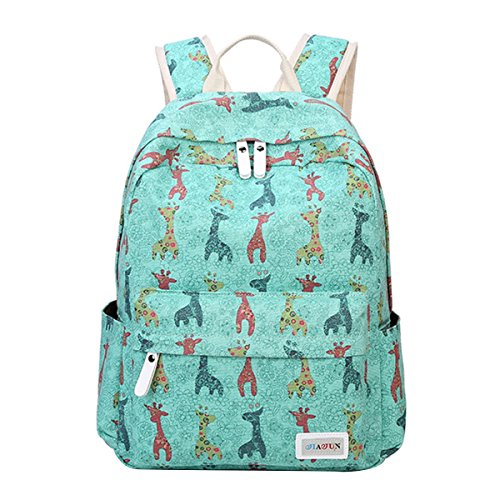 Moonwind Giraffe School Backpack for Girls Teen Book Bag Women Travel Daypacks (Giraffe, Grass Green)