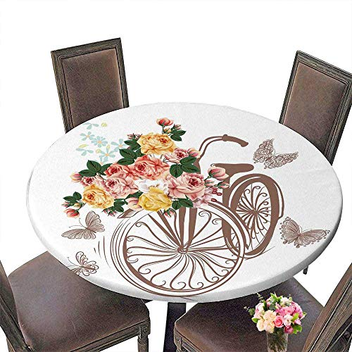 Table Cover Bicycle with Basket Fully of Rose Flowers and Butterflies Around it Ideal for Invitation Design Save Machine Washable 40