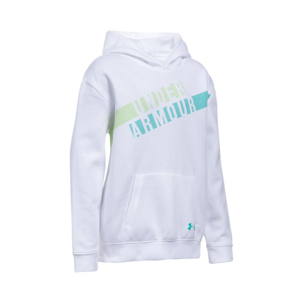 Under Armour Girls' Favorite Fleece Hoodie, White (100)/Absinthe Green, Youth Small by Under Armour