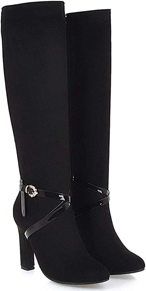 Vimisaoi Womens Elegant Side Zipper Block High Heel Round Toe Dress Combat Black Knee High Boots
