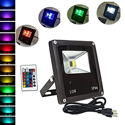 LED Flood Light RGB+White 10W (85V-265V ) US 3-Plug Waterproof IP66 16color change choice Remote Control Memory Function for Park, Garden, and Stage Outdoor Flood Light /Spotlight/Landscape