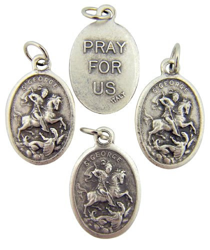 Ring George St - Religious Silver Toned Saint George Pendant, Lot of 4