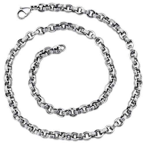 Open Oval Link Necklace - Mens Open Oval Link Stainless Steel Necklace