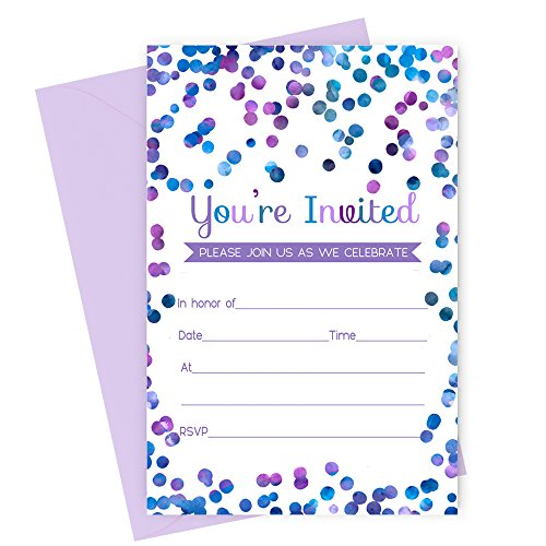 Purple Confetti Party Invitations with Envelopes Set of 15 -