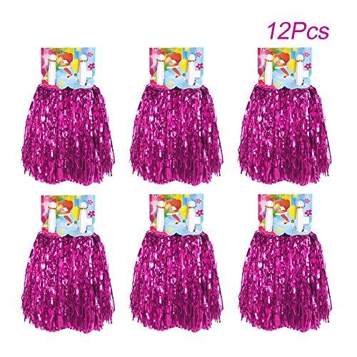 (Creatiee 1 Dozen Premium Cheerleading Pom Poms, 12Pcs Hand Flowers Cheerleader Pompoms for Sports Cheers Ball Dance Fancy Dress Night Party (Rose Red))