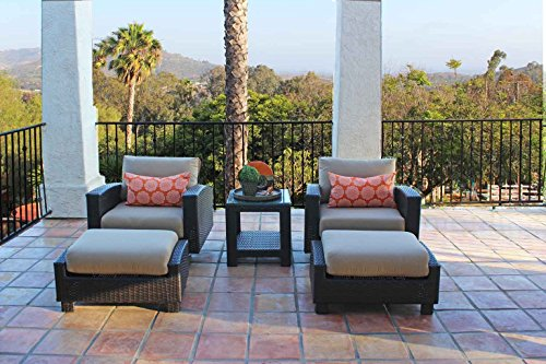 Duxbury 5 Piece Wicker Outdoor Chair Set Rocker and Swivel From Dola in Thick Half Round Brown Wicker With 5 Inch Sunbrella Cushions Measures 35