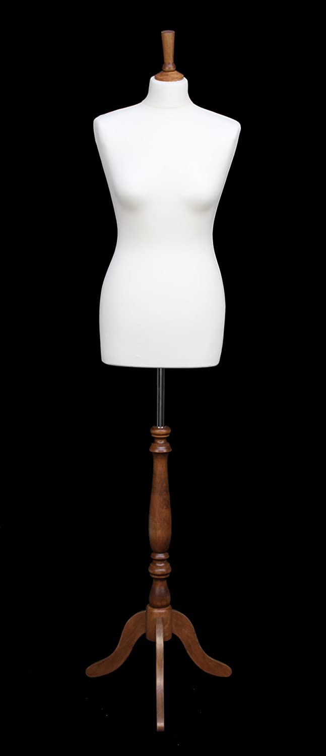 DELUXE Size 14/16 Female Dressmaking Dummy Tailors Bust Mannequin WHITE Jersey INDIAN ROSE WOOD Tripod Stand The Shopfitting SHop