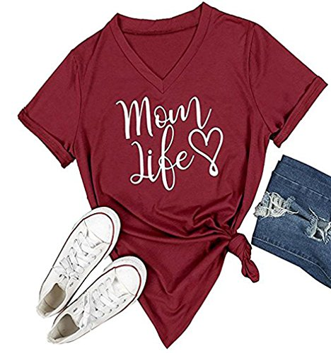 DANVOUY Women's Summer Casual Letters Printed T-Shirt Short Sleeves Graphic V-Neck Tops Wine Red Medium