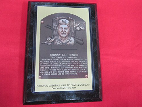 Johnny Bench 1989 Hall of Fame Induction Postcard Plaque - 1989 Johnny Bench