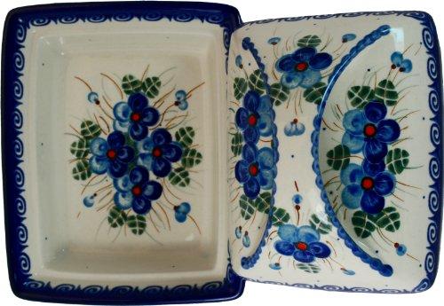 Polish Pottery Ceramika Boleslawiec, 0352/162, Butter Dish Deep, 2 Cubes, Royal Blue Patterns with Blue Pansy Flower Motif by Polish Pottery Ceramika Boleslawiec (Image #1)
