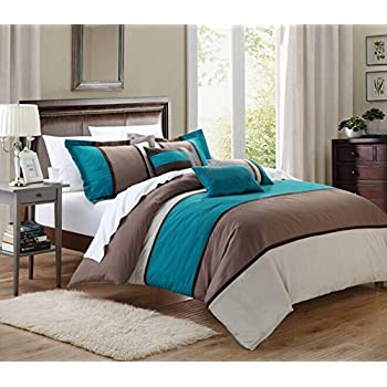 Amazoncom 7 PC MODERN TURQUOISE BLUE BROWN GREY COMFORTER SET