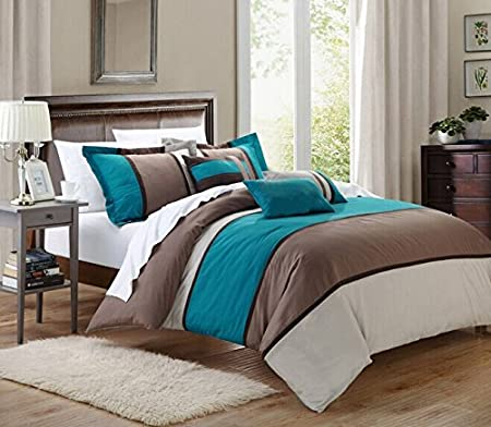 7 Pieces Luxury Micro Suede Turquoise Blue, Grey and Brown Comforter Set /  Bed-in-a-bag Queen Size Bedding