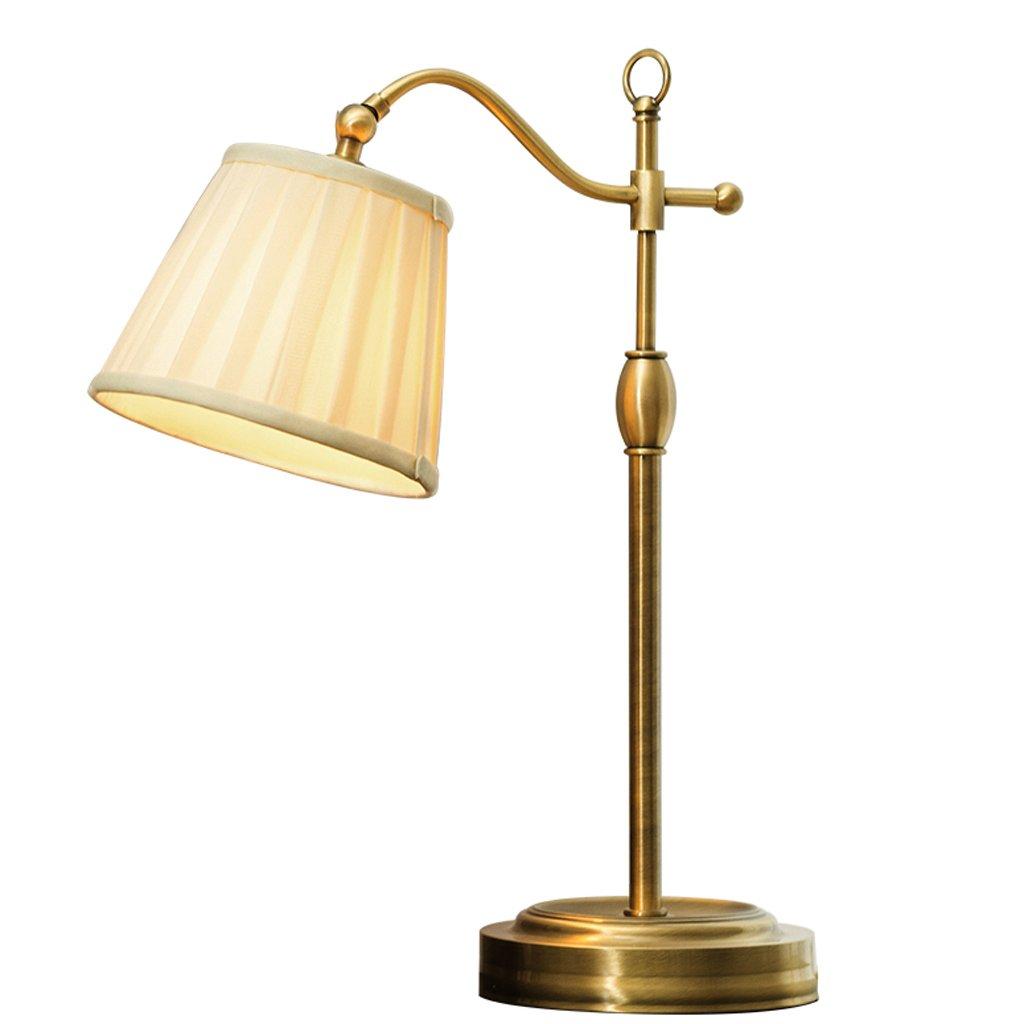 Freya Lámpara de Mesa de Metal Dormitorio de Tela Lámpara de Mesa de Moda Creativa Lámpara de Mesa de Noche cálida Moderna Simple (tamaño : 66cm)
