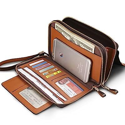 Men's Genuine Leather Zipper Wallet Handbag Organizer Checkbook Purse with Wrist Strap