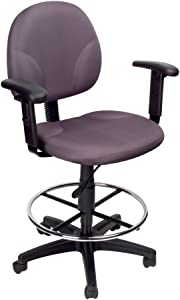Boss Office Products B1691-GY Stand Up Fabric Drafting Stool with Adjustable Arms in Grey