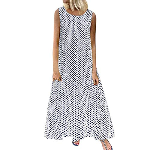 - Xinantime Women Long Dress Sexy O-Neck Polka Dot Print Boho Long Cocktail Casual Beach Dress White