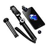 Noosy Stylish Wireless Selfie Stick With Tripod and 3 in 1 Lens - Black