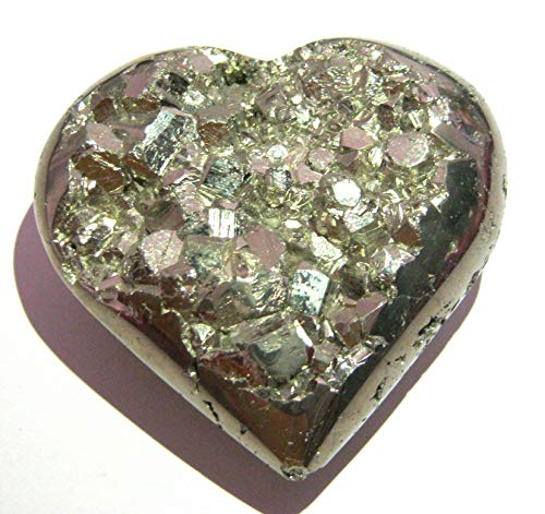 CRYSTALMIRACLE Powerful 182 Grams Golden Pyrite 57 MM Heart Rock Crystal Healing Metaphysical Gemstone Reiki FENG Shui Gift Energy Health Deflector