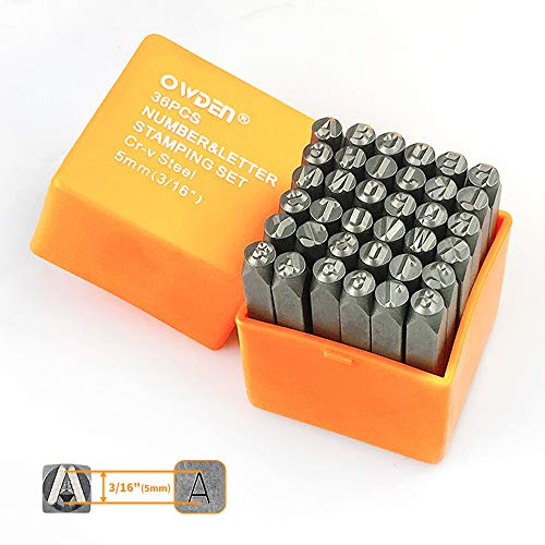"OWDEN Professional 36Pcs. Steel Metal Stamping Tool Set,(3/16"") 5mm,Steel Number and Letter Punch Set,Alloy Steel Made HRC 58-62 for Jewelry Craft Stamping."