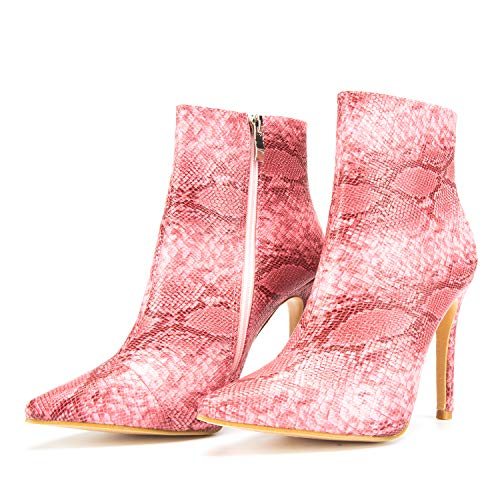 (JSUN7 Sexy Ankle Women's Boots with Stiletto, Pink Snake Pattern Pointed PU Rain Boot for Women Girls with Flannel Lining Dress Party Side Zipper Fashion High Heels Shoes )